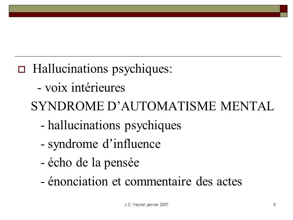 Hallucinations psychiques: - voix intérieures