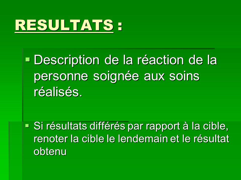 RESULTATS : Description de la réaction de la personne soignée aux soins réalisés.
