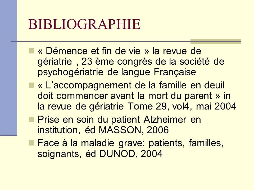 BIBLIOGRAPHIE « Démence et fin de vie » la revue de gériatrie , 23 ème congrès de la société de psychogériatrie de langue Française.