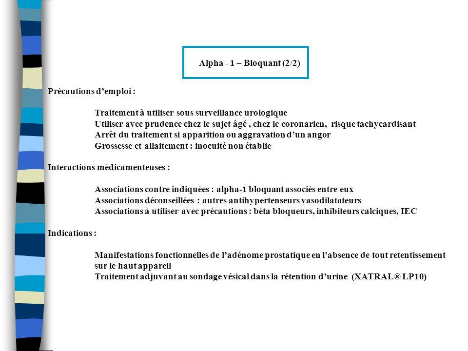 Alpha - 1 – Bloquant (2/2) Précautions d'emploi : Traitement à utiliser sous surveillance urologique.
