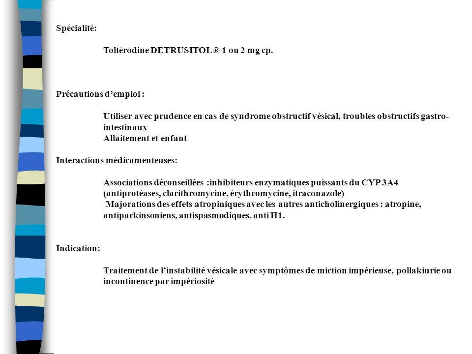 Spécialité: Toltérodine DETRUSITOL ® 1 ou 2 mg cp. Précautions d'emploi :