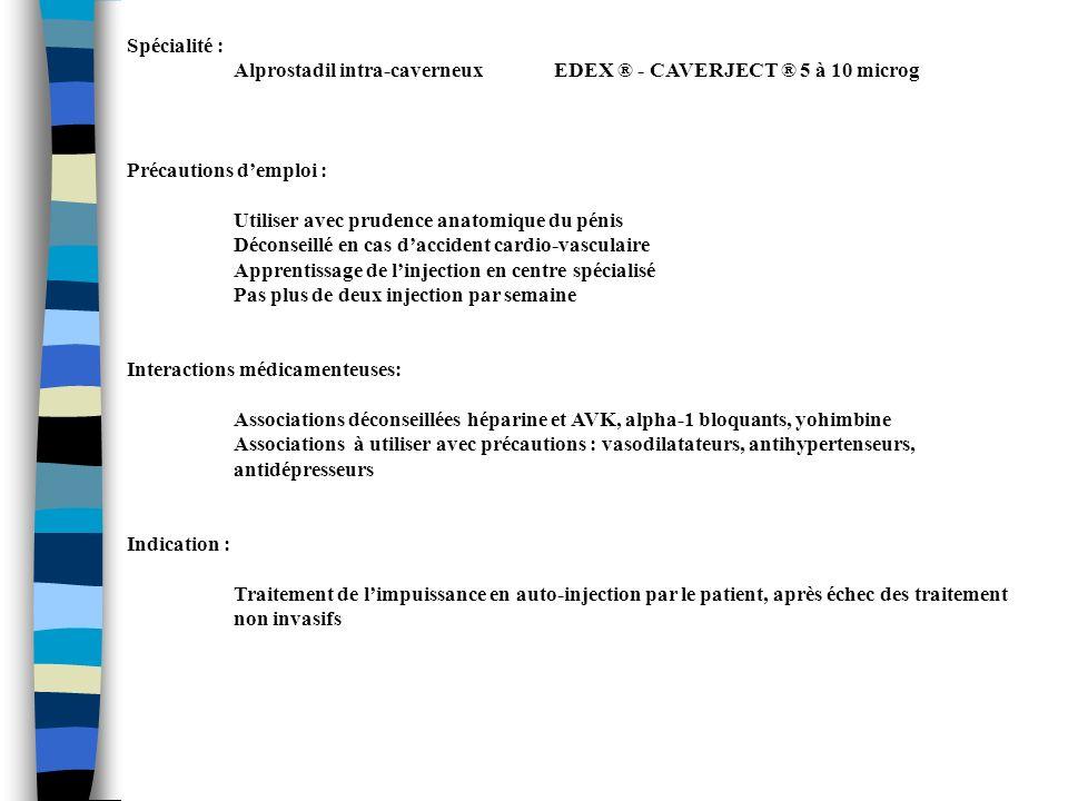 Spécialité : Alprostadil intra-caverneux EDEX ® - CAVERJECT ® 5 à 10 microg. Précautions d'emploi :