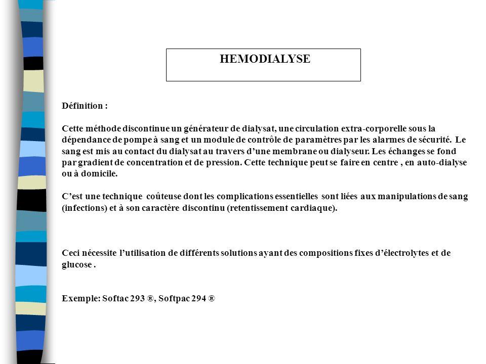 HEMODIALYSE Définition :