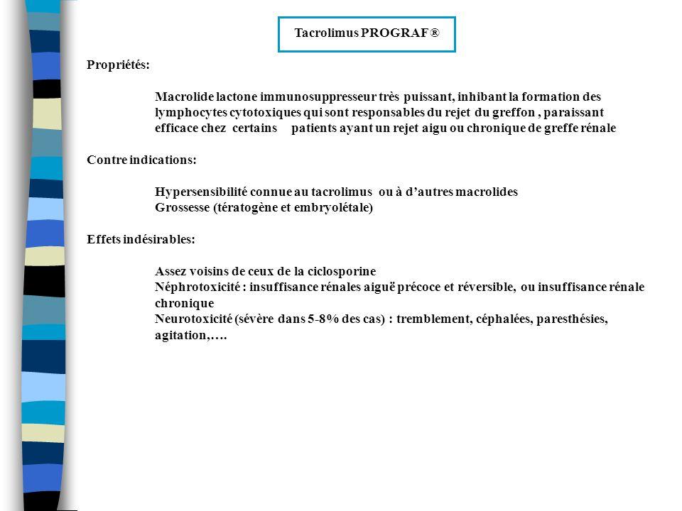 Tacrolimus PROGRAF ® Propriétés: