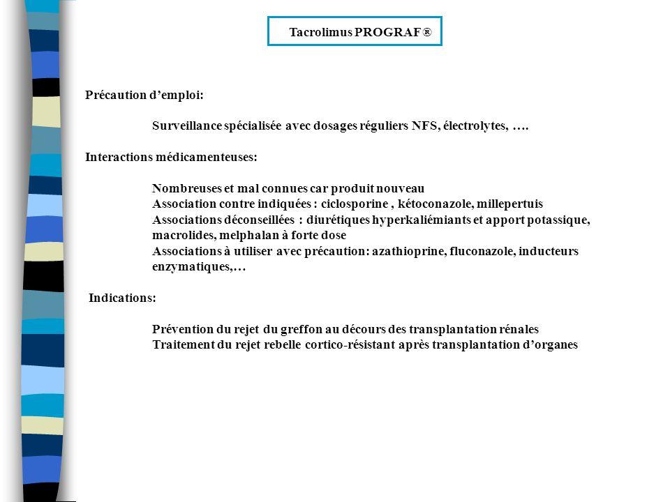Tacrolimus PROGRAF ® Précaution d'emploi: Surveillance spécialisée avec dosages réguliers NFS, électrolytes, ….