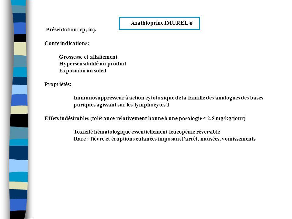 Azathioprine IMUREL ® Présentation: cp, inj. Conte indications: Grossesse et allaitement. Hypersensibilité au produit.
