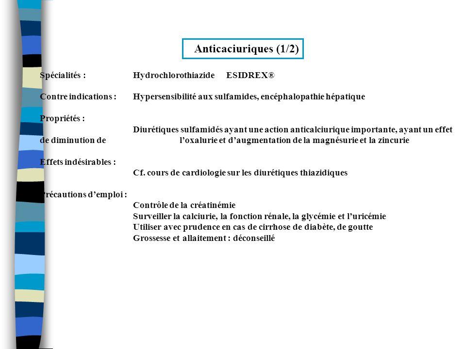 Anticaciuriques (1/2) Spécialités : Hydrochlorothiazide ESIDREX®