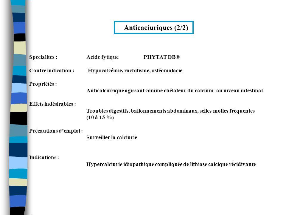 Anticaciuriques (2/2) Spécialités : Acide fytique PHYTAT DB®