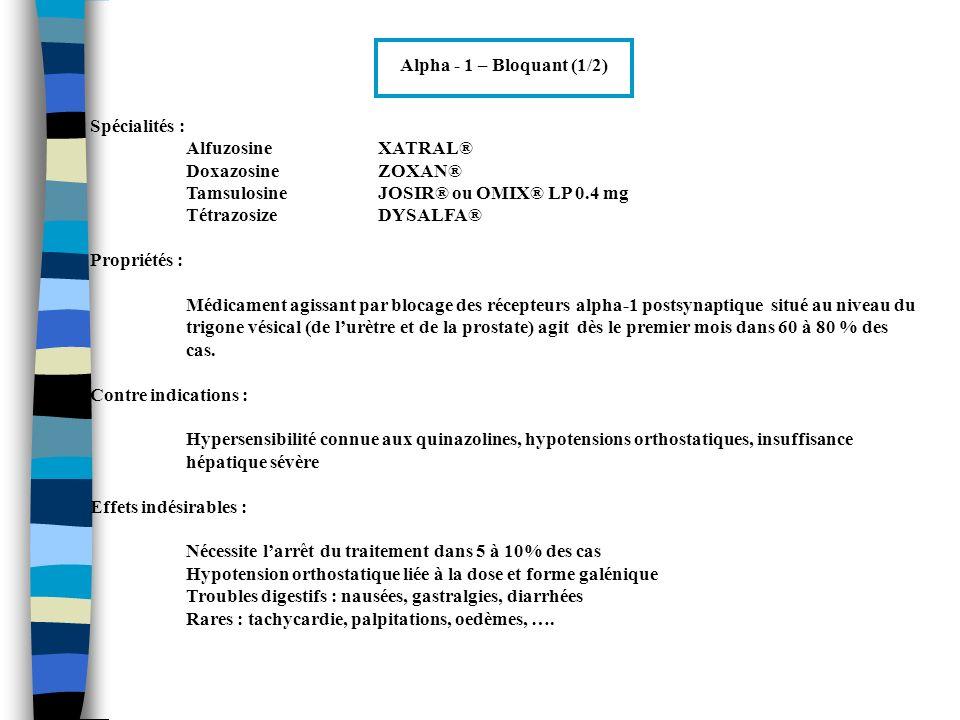 Alpha - 1 – Bloquant (1/2) Spécialités : Alfuzosine XATRAL® Doxazosine ZOXAN® Tamsulosine JOSIR® ou OMIX® LP 0.4 mg.