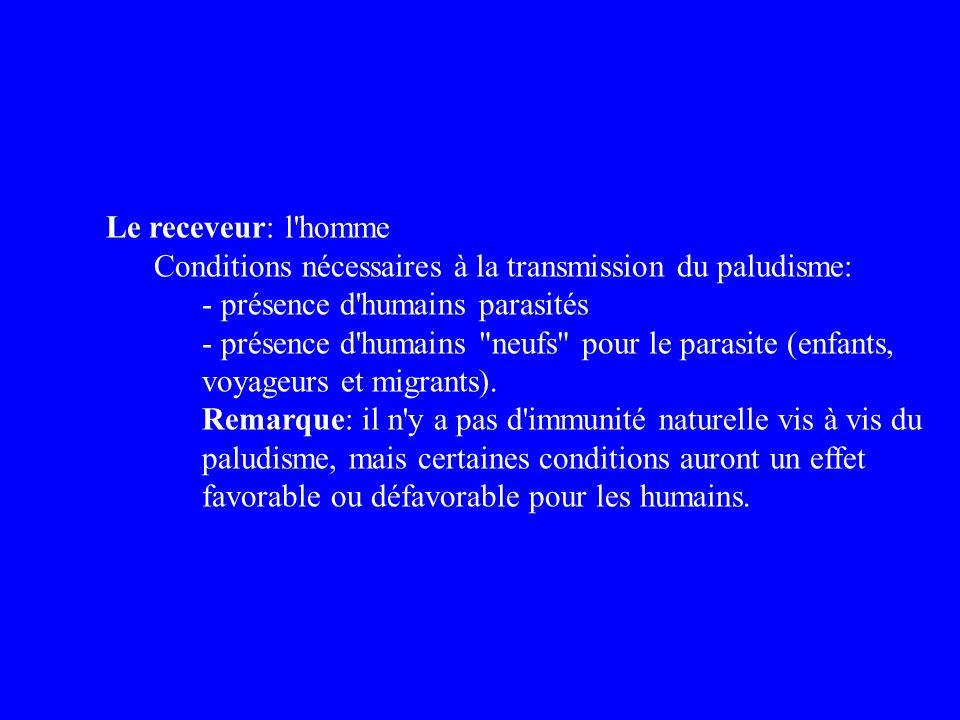 Le receveur: l homme Conditions nécessaires à la transmission du paludisme: - présence d humains parasités.