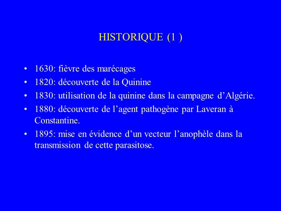 HISTORIQUE (1 ) 1630: fièvre des marécages