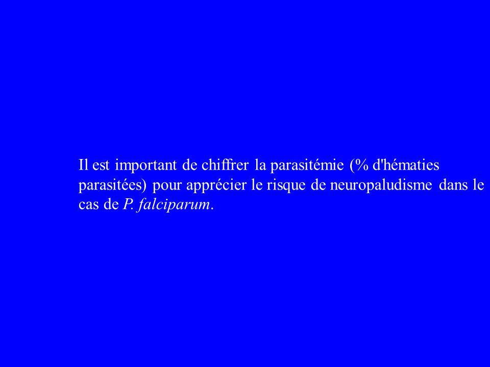 Il est important de chiffrer la parasitémie (% d hématies parasitées) pour apprécier le risque de neuropaludisme dans le cas de P.