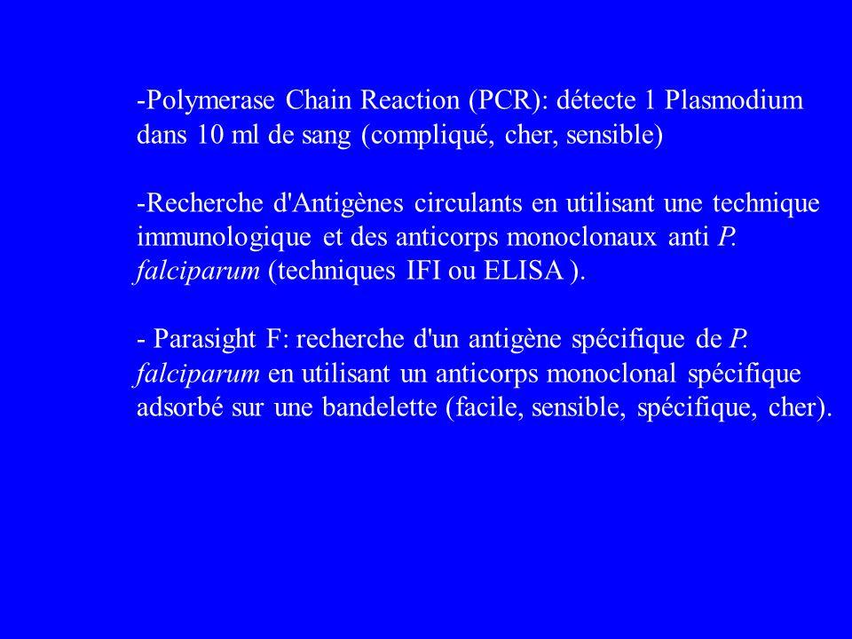 Polymerase Chain Reaction (PCR): détecte 1 Plasmodium dans 10 ml de sang (compliqué, cher, sensible)