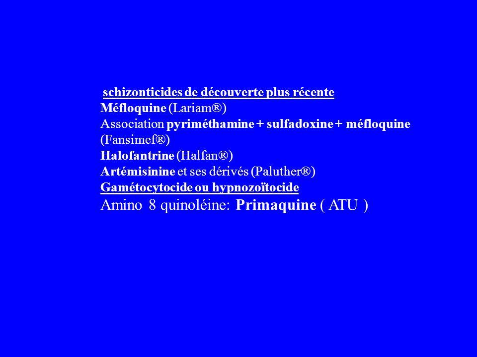 Amino 8 quinoléine: Primaquine ( ATU )