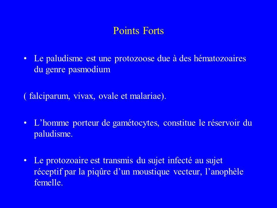 Points Forts Le paludisme est une protozoose due à des hématozoaires du genre pasmodium. ( falciparum, vivax, ovale et malariae).