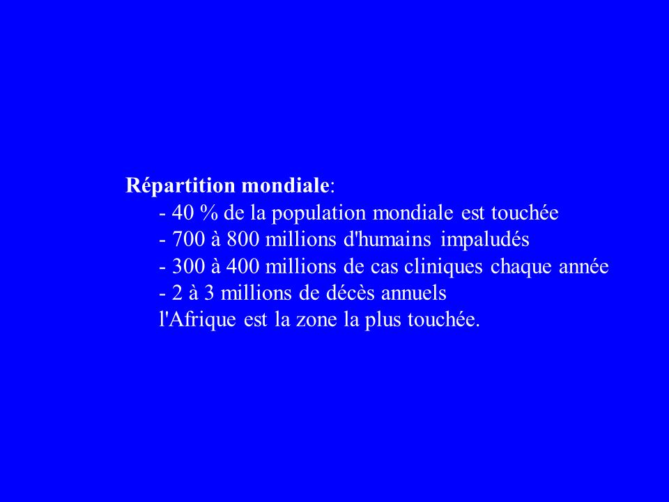 Répartition mondiale: