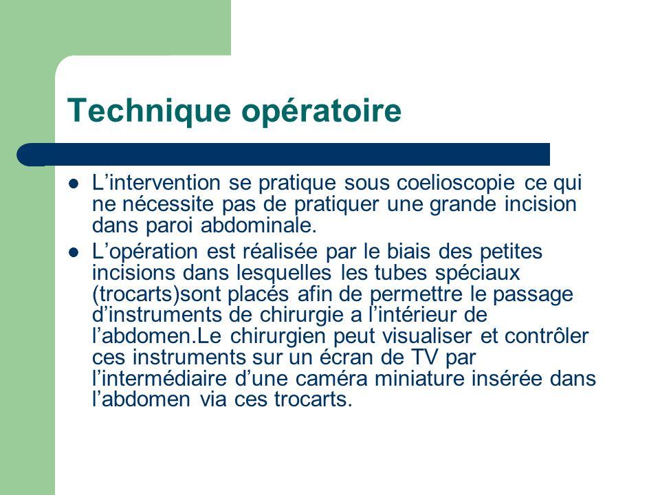 Technique opératoireL'intervention se pratique sous coelioscopie ce qui ne nécessite pas de pratiquer une grande incision dans paroi abdominale.