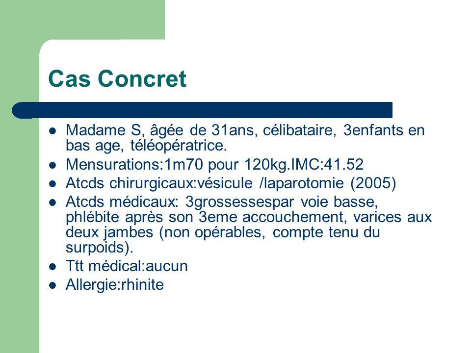 Cas ConcretMadame S, âgée de 31ans, célibataire, 3enfants en bas age, téléopératrice. Mensurations:1m70 pour 120kg.IMC:41.52.