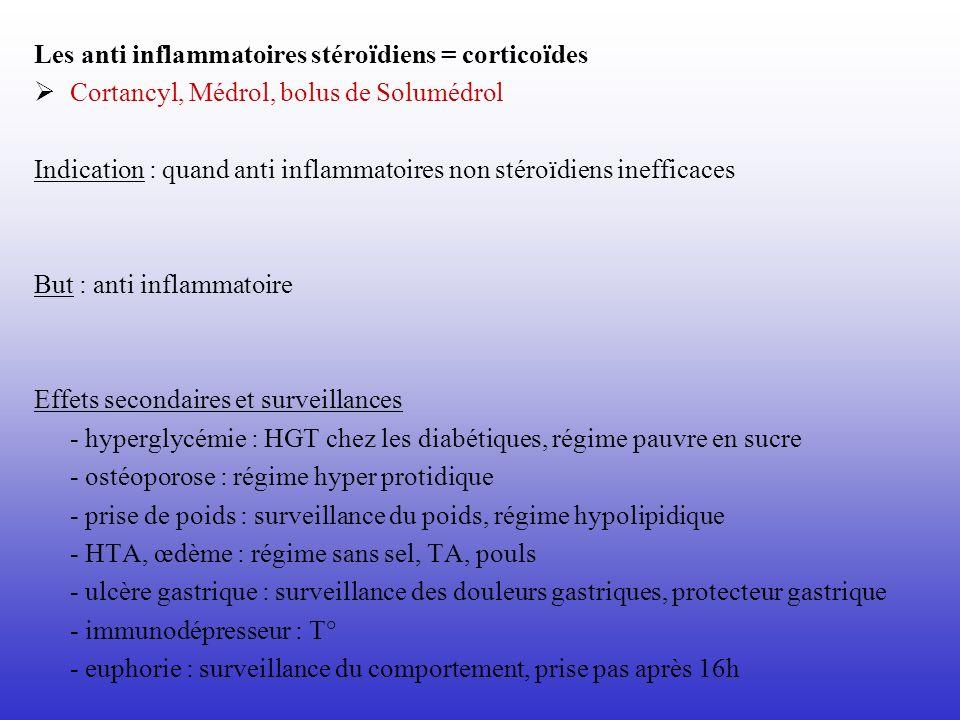 Les anti inflammatoires stéroïdiens = corticoïdes