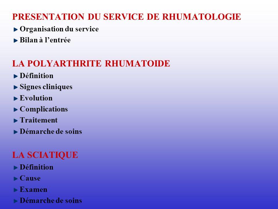 PRESENTATION DU SERVICE DE RHUMATOLOGIE