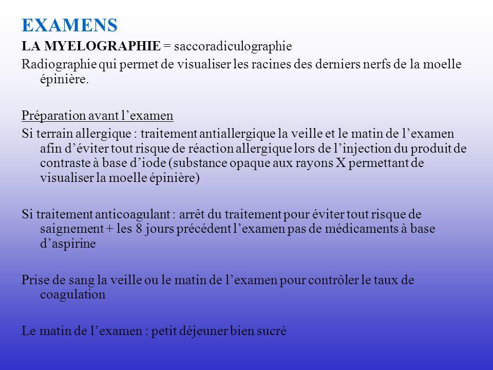 EXAMENS LA MYELOGRAPHIE = saccoradiculographie