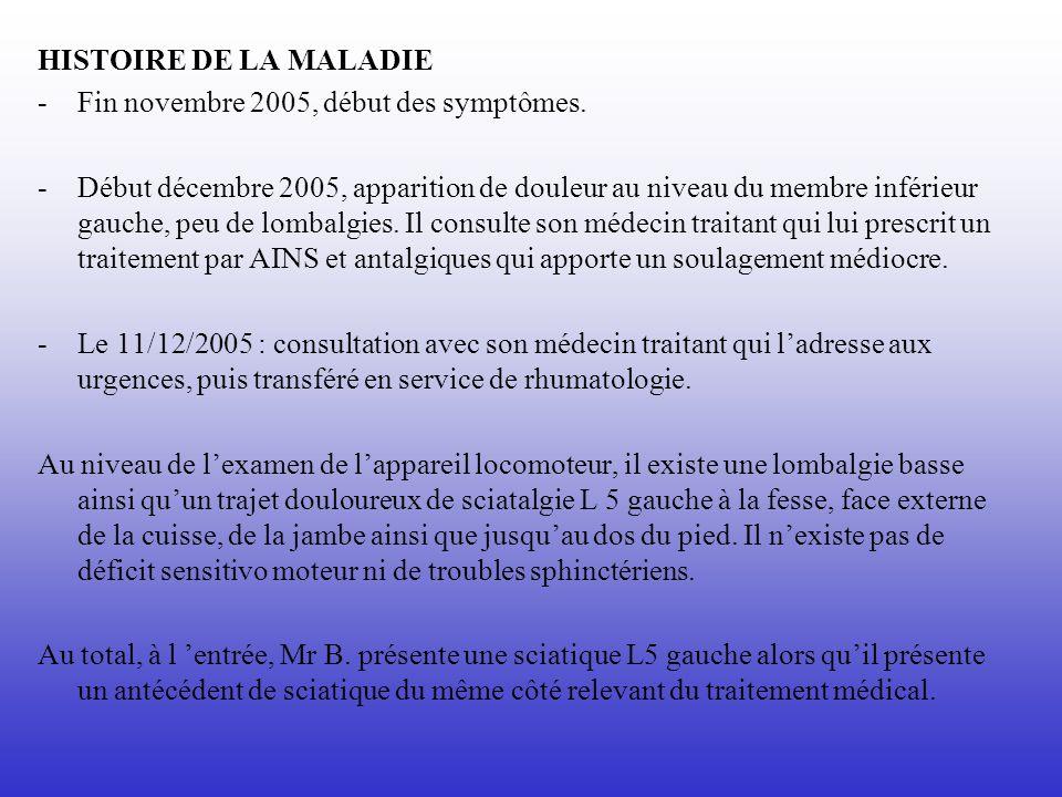 HISTOIRE DE LA MALADIE Fin novembre 2005, début des symptômes.