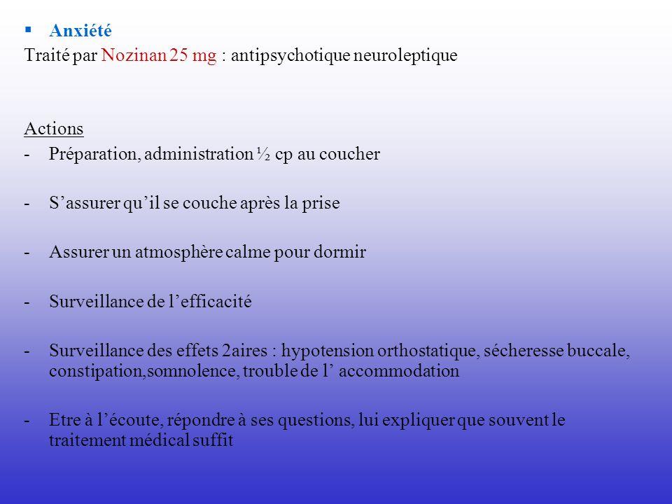 Anxiété Traité par Nozinan 25 mg : antipsychotique neuroleptique. Actions. Préparation, administration ½ cp au coucher.