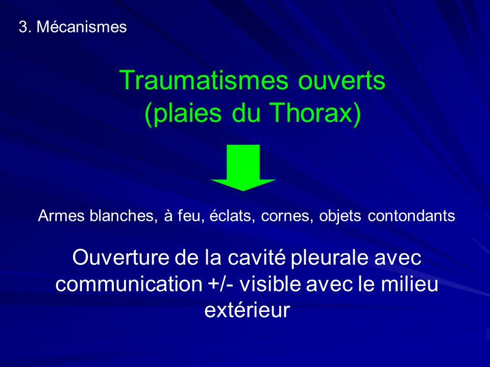 Traumatismes ouverts (plaies du Thorax)