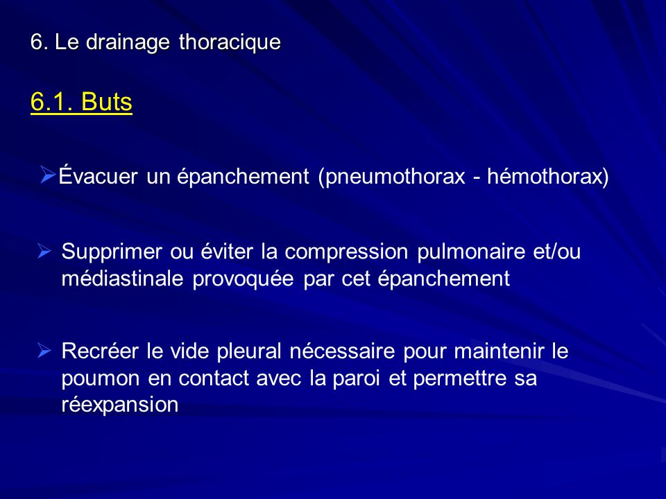 Évacuer un épanchement (pneumothorax - hémothorax)