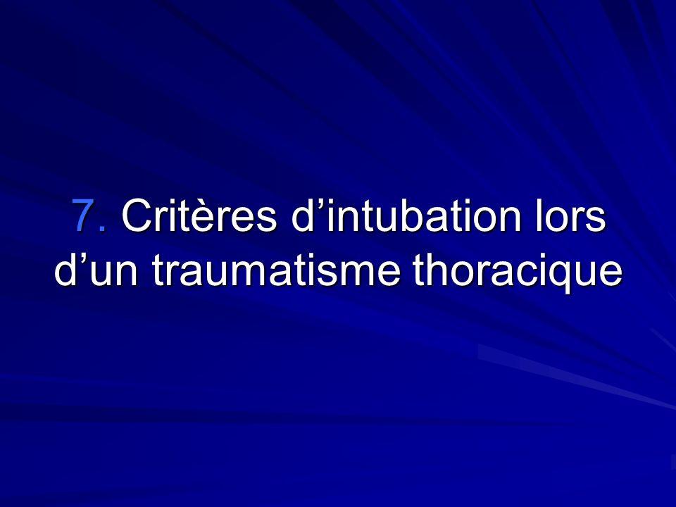 7. Critères d'intubation lors d'un traumatisme thoracique