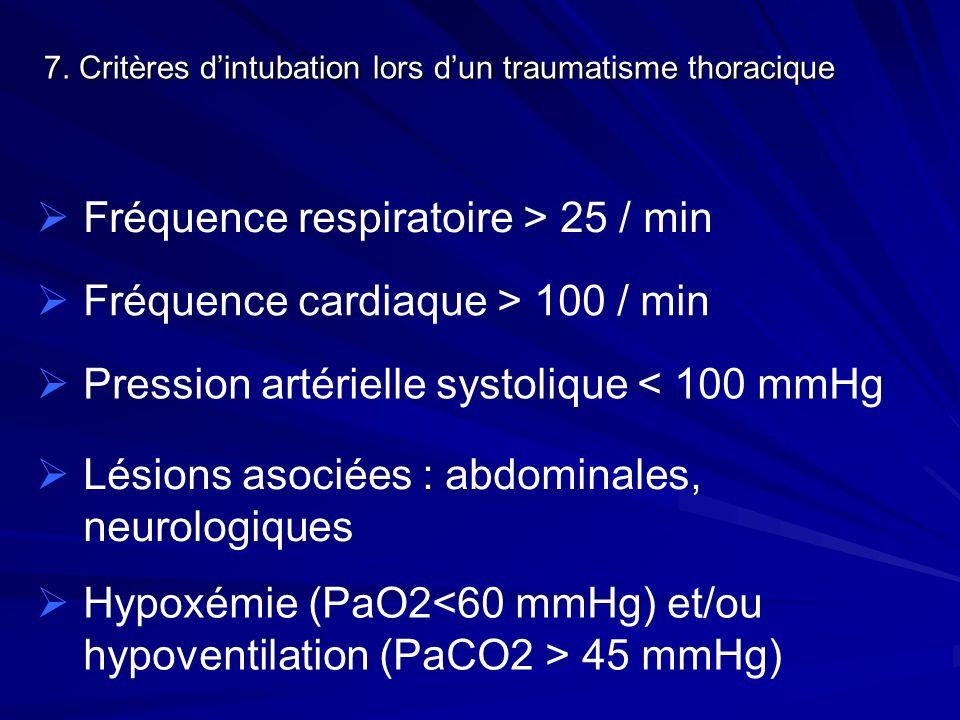 Fréquence respiratoire > 25 / min