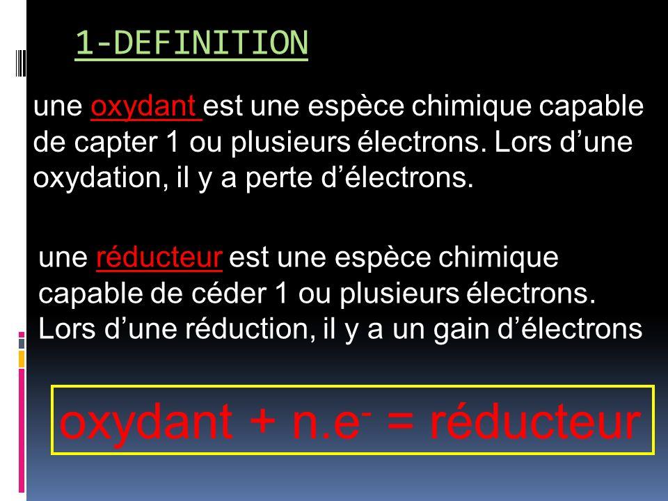 oxydant + n.e- = réducteur