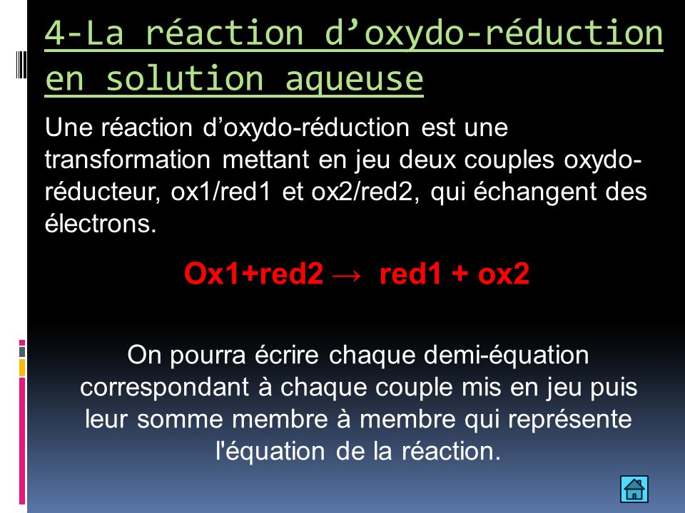4-La réaction d'oxydo-réduction en solution aqueuse