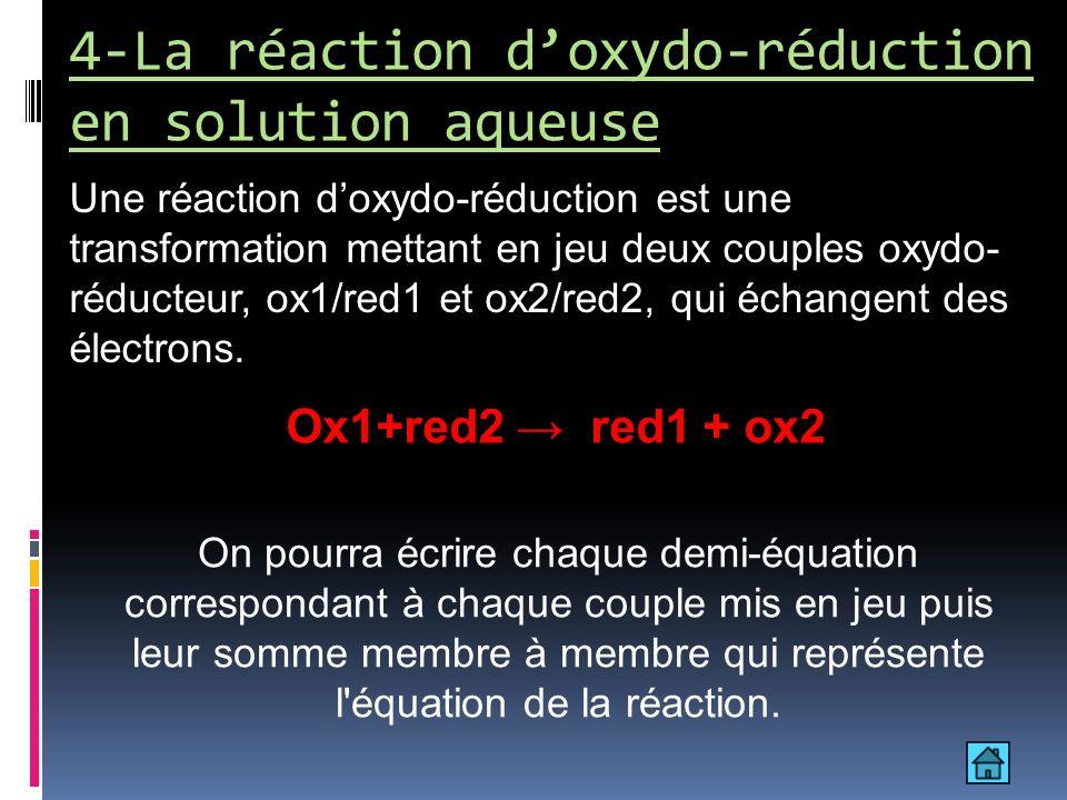4-La réaction d'oxydo-réduction en solution aqueuse