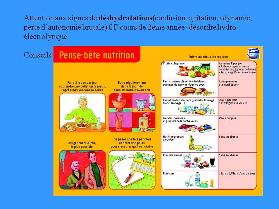 Attention aux signes de déshydratations(confusion, agitation, adynamie, perte d'autonomie brutale) CF cours de 2eme année- désordre hydro-électrolytique Conseils