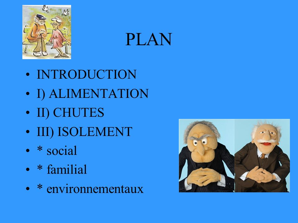 PLAN INTRODUCTION I) ALIMENTATION II) CHUTES III) ISOLEMENT * social