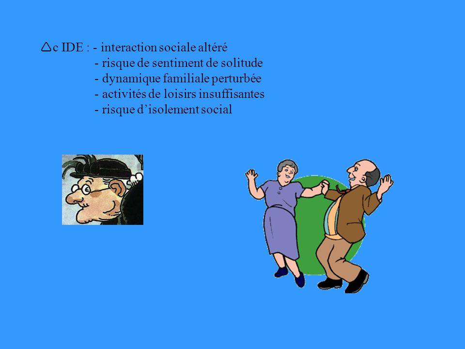 c IDE : - interaction sociale altéré - risque de sentiment de solitude - dynamique familiale perturbée - activités de loisirs insuffisantes - risque d'isolement social