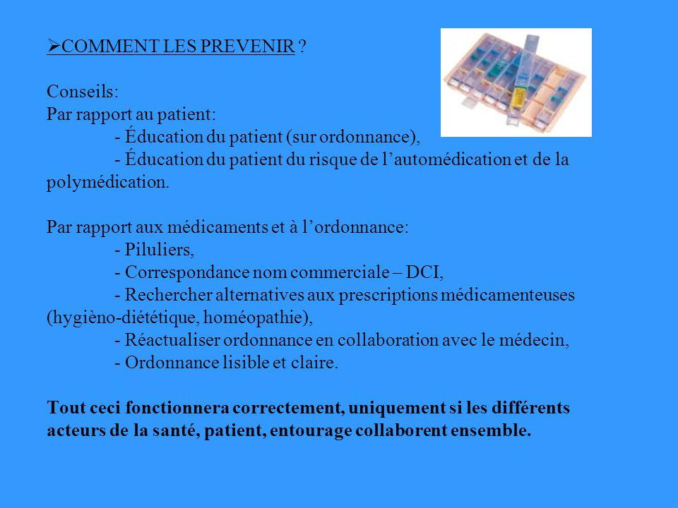 COMMENT LES PREVENIR. Conseils: Par rapport au patient: