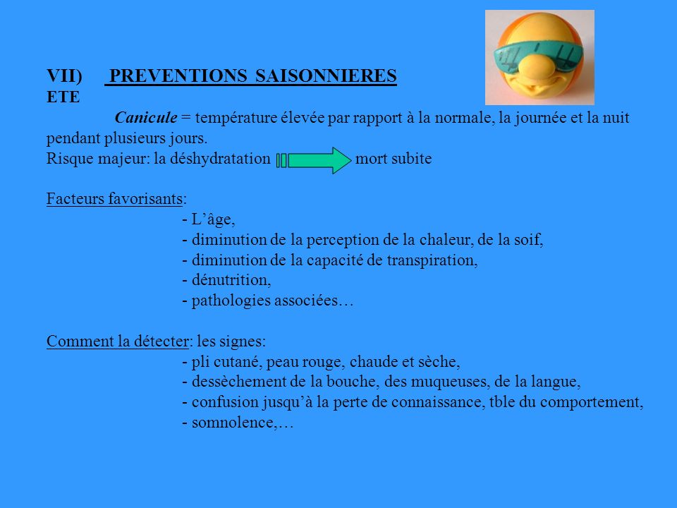 VII) PREVENTIONS SAISONNIERES ETE