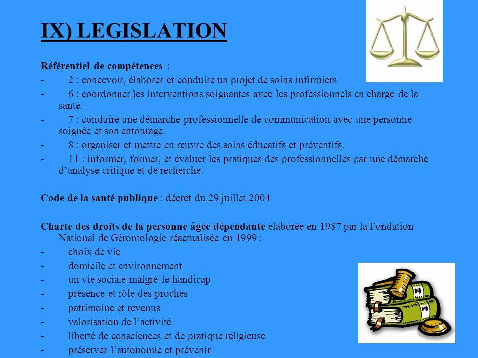IX) LEGISLATION Référentiel de compétences :