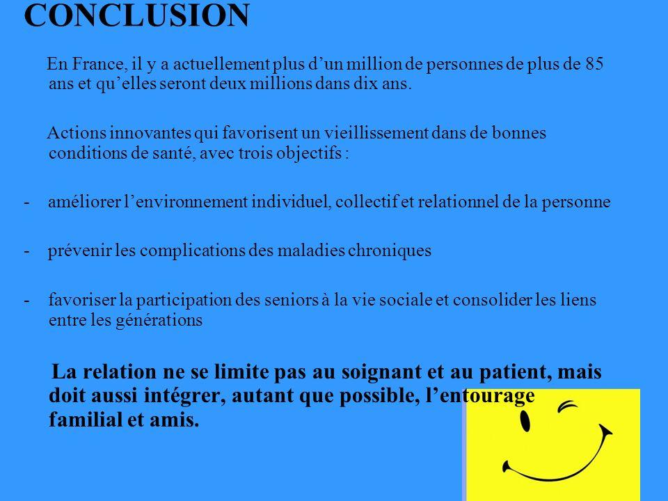 CONCLUSION En France, il y a actuellement plus d'un million de personnes de plus de 85 ans et qu'elles seront deux millions dans dix ans.