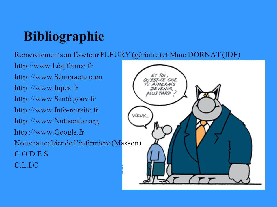 Bibliographie Remerciements au Docteur FLEURY (gériatre) et Mme DORNAT (IDE) http://www.Légifrance.fr.