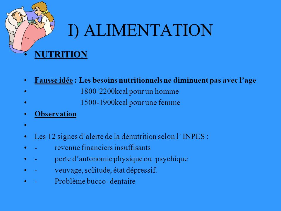 I) ALIMENTATION NUTRITION