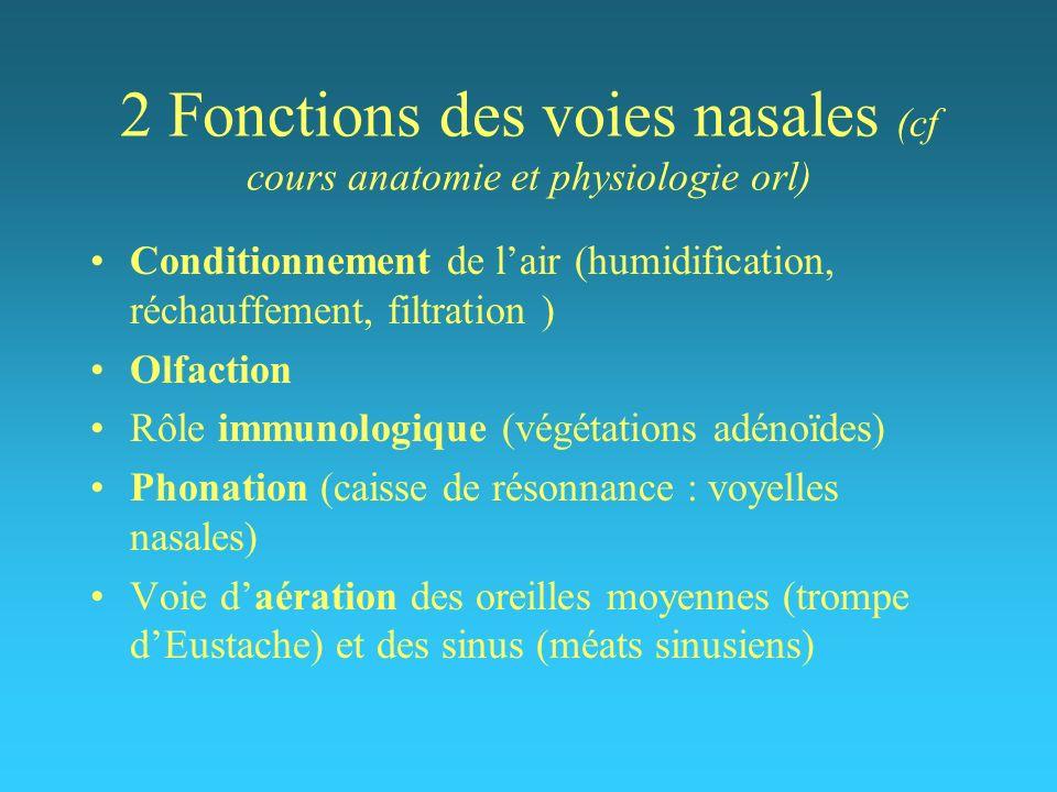 2 Fonctions des voies nasales (cf cours anatomie et physiologie orl)