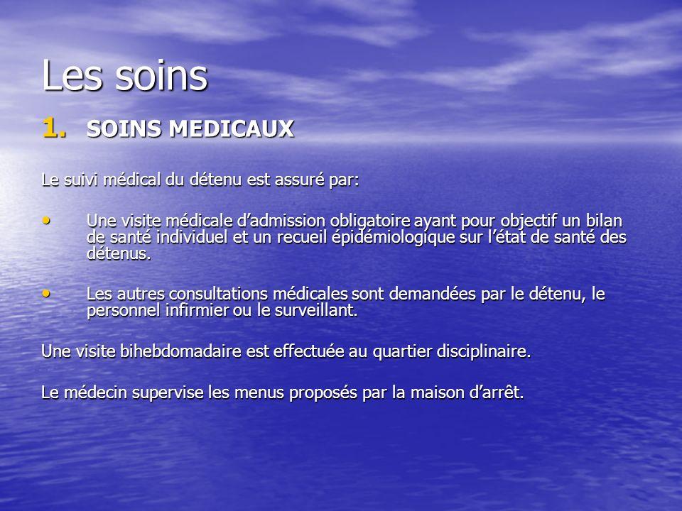 Les soins SOINS MEDICAUX Le suivi médical du détenu est assuré par: