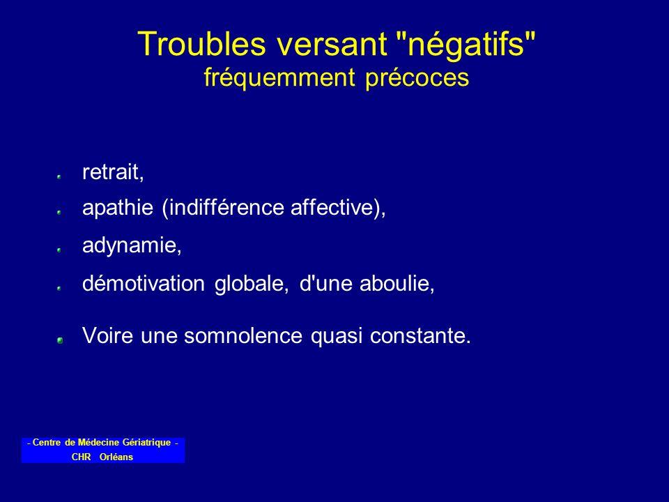 Troubles versant négatifs fréquemment précoces
