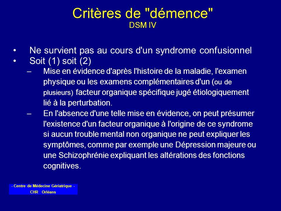 Critères de démence DSM IV