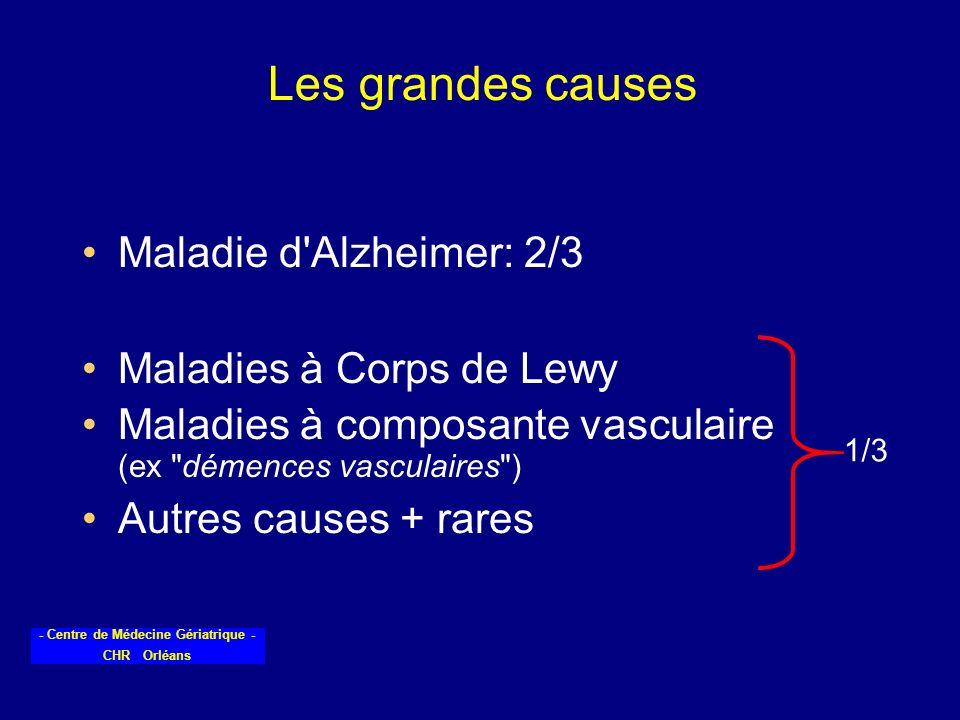 Les grandes causes Maladie d Alzheimer: 2/3 Maladies à Corps de Lewy