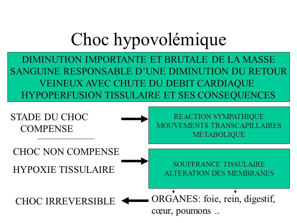 Choc hypovolémique DIMINUTION IMPORTANTE ET BRUTALE DE LA MASSE