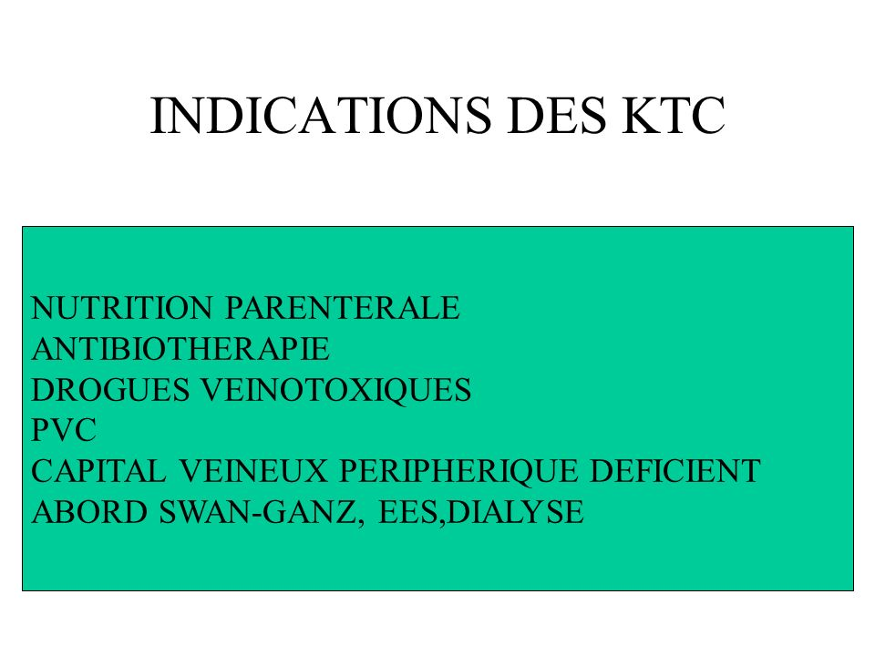 INDICATIONS DES KTC NUTRITION PARENTERALE ANTIBIOTHERAPIE